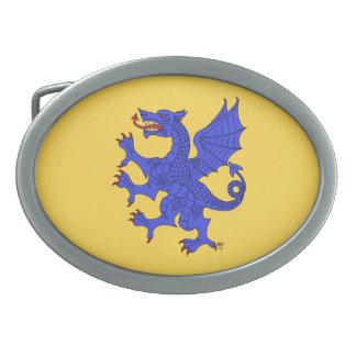 Hebilla del cinturón (azul) desenfrenada del dragó hebillas cinturón ovales