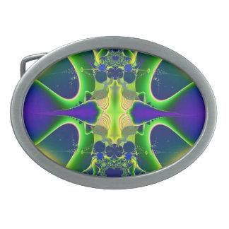 Hebilla del cinturón azul y verde del fractal hebilla cinturon oval