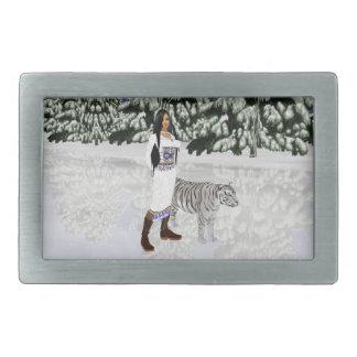 Hebilla del cinturón blanca como la nieve del hebilla cinturón rectangular