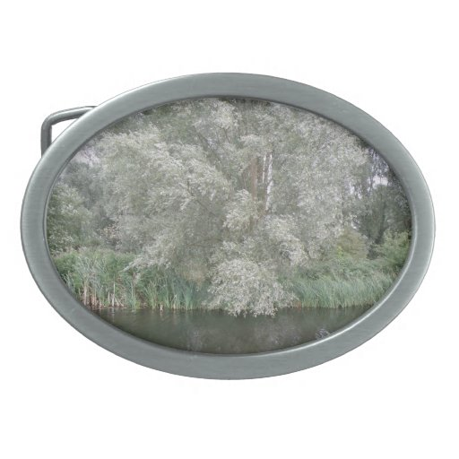 Hebilla del cinturón blanca del paisaje del árbol  hebilla de cinturon