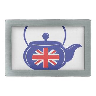 Hebilla del cinturón BRITÁNICA azul de la tetera Hebilla De Cinturón Rectangular