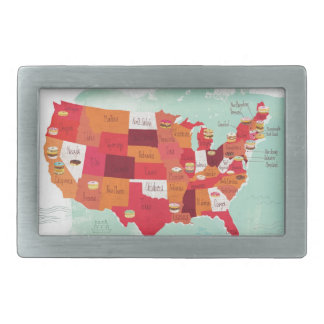 hebilla del cinturón, buñuelo, mapa, los E.E.U.U. Hebilla Cinturon