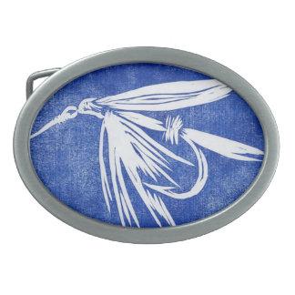 """Hebilla del cinturón clásica """"mosca mojada azul """" hebilla de cinturón oval"""