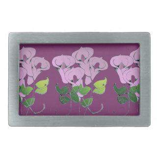 Hebilla del cinturón con arte de la flor del lirio hebillas cinturon rectangulares