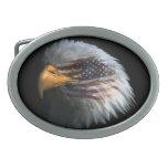 Hebilla del cinturón con la bandera de Eagle calvo Hebillas De Cinturon Ovales