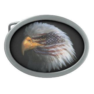 Hebilla del cinturón con la bandera de Eagle calvo Hebilla Cinturon Oval