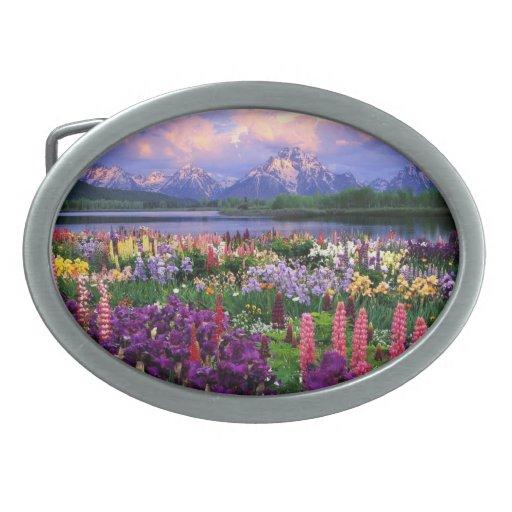 Hebilla del cinturón con paisaje floral hermoso hebillas cinturon
