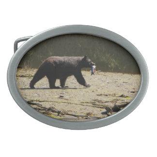 Hebilla del cinturón con un oso negro hebilla cinturon oval
