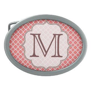 Hebilla del cinturón coralina del monograma de hebillas de cinturón ovales