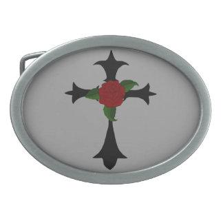 Hebilla del cinturón cruzada tribal negra hebilla de cinturón oval