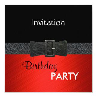 """Hebilla del cinturón de cuero negra roja elegante invitación 5.25"""" x 5.25"""""""