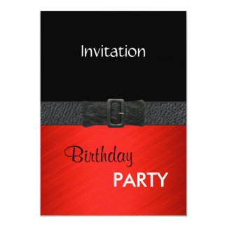 """Hebilla del cinturón de cuero negra roja elegante invitación 5"""" x 7"""""""