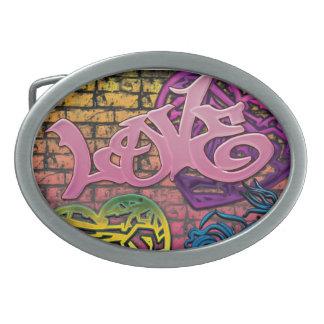 Hebilla del cinturón de Graffitti del amor - Hebilla Cinturon Oval