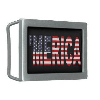 'Hebilla del cinturón de la bandera de MERICA los Hebilla De Cinturón Rectangular