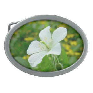 Hebilla del cinturón de la flor blanca hebilla de cinturon oval