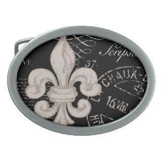 Hebilla del cinturón de la flor de lis del vintage hebilla cinturón oval