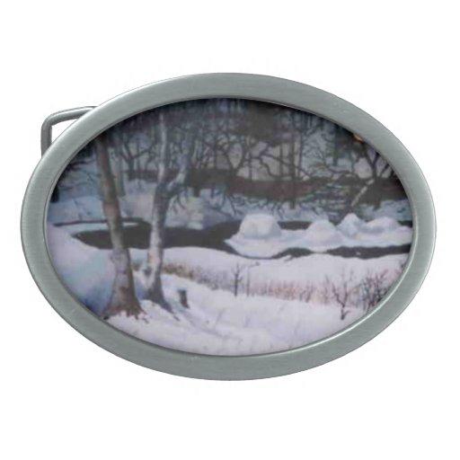 Hebilla del cinturón de la Nieve-scape Hebilla Cinturon Oval