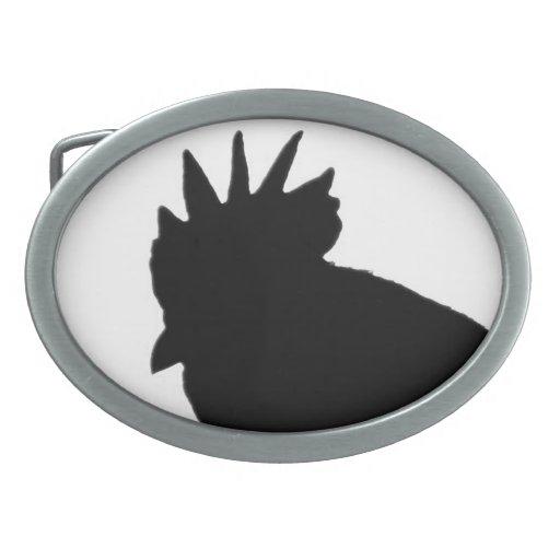 Hebilla del cinturón de la silueta del gallo hebillas cinturón ovales