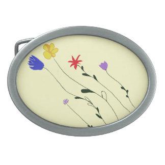 Hebilla del cinturón de las flores hebilla de cinturón oval