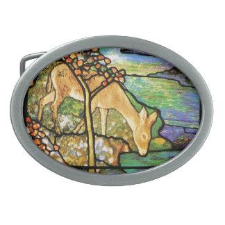 Hebilla del cinturón de los ciervos del vitral del hebillas de cinturon ovales
