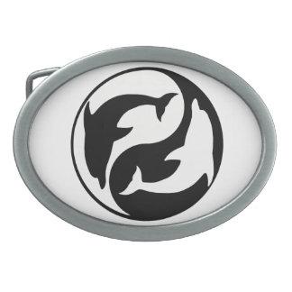 Hebilla del cinturón de los delfínes de Yin Yang Hebilla De Cinturon Oval