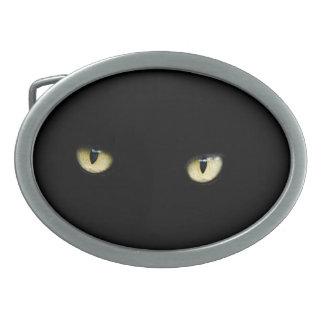 Hebilla del cinturón de los ojos de gato negro de hebilla cinturón oval