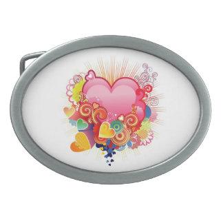 Hebilla del cinturón de lujo del corazón del chica hebillas de cinturón ovales
