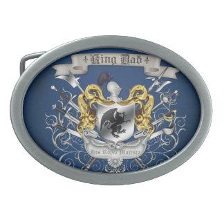 Hebilla del cinturón de rey Dad Royal Crest Blue Hebilla Cinturón Oval