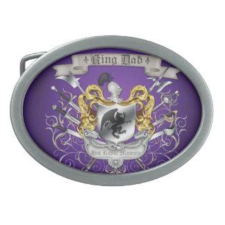 Hebilla del cinturón de rey Dad Royal Crest Purple Hebilla Cinturon Oval