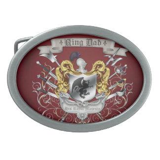 Hebilla del cinturón de rey Dad Royal Crest Red Hebilla Cinturón Oval
