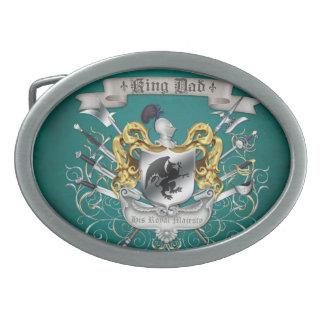 Hebilla del cinturón de rey Dad Royal Crest Teal Hebilla De Cinturón Oval