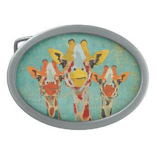 Hebilla del cinturón de tres jirafas que mira a es hebilla de cinturon
