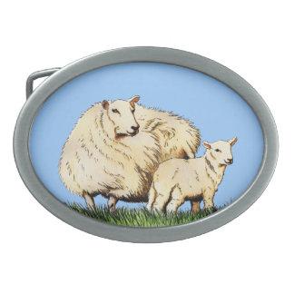 hebilla del cinturón del animal de dos ovejas hebilla de cinturón oval