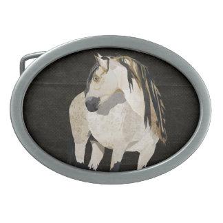 Hebilla del cinturón del caballo blanco hebillas cinturón ovales