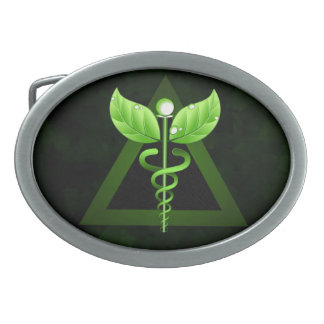 Hebilla del cinturón del caduceo del verde de la hebilla de cinturon oval
