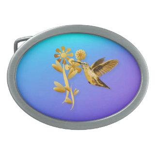 Hebilla del cinturón del colibrí del oro hebillas cinturón ovales