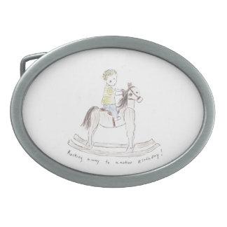 Hebilla del cinturón del cumpleaños de Rockin Hebilla Cinturón Oval