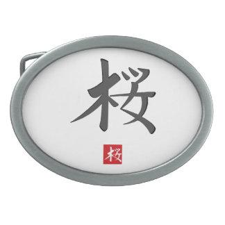 Hebilla del cinturón del jeroglífico de Sakura Hebilla De Cinturón Oval