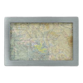 Hebilla del cinturón del mapa de la aviación hebilla cinturón rectangular