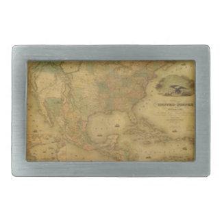 Hebilla del cinturón del mapa de los E.E.U.U. Hebilla De Cinturón Rectangular