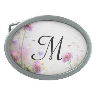 Hebilla del cinturón del monograma de las flores hebilla de cinturon oval