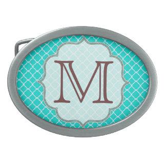 Hebilla del cinturón del monograma de Quarterfoil Hebillas De Cinturon Ovales