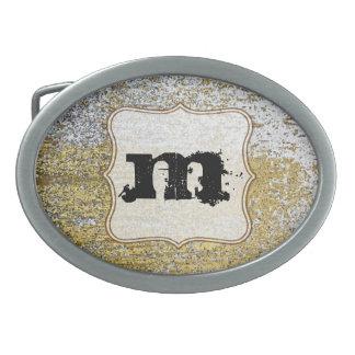 Hebilla del cinturón del monograma del Grunge del Hebilla De Cinturón Oval