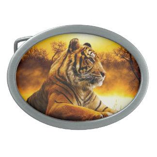Hebilla del cinturón del óvalo del tigre y de la hebilla cinturón oval