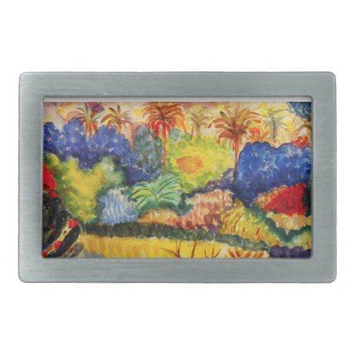 Hebilla del cinturón del paisaje de Gauguin Tahiti Hebillas De Cinturon Rectangulares