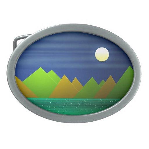 Hebilla del cinturón del paisaje de la naturaleza hebilla de cinturón oval