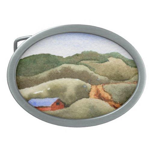 Hebilla del cinturón del paisaje de las carreteras hebilla de cinturón oval