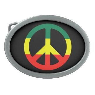 Hebilla del cinturón del signo de la paz del regga hebilla de cinturón oval