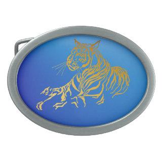 Hebilla del cinturón del tigre del oro hebilla de cinturón oval