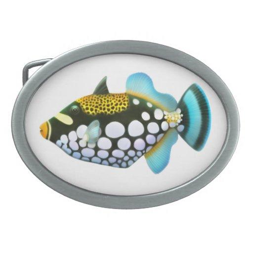 Hebilla del cinturón del Triggerfish del payaso de Hebilla De Cinturon Oval